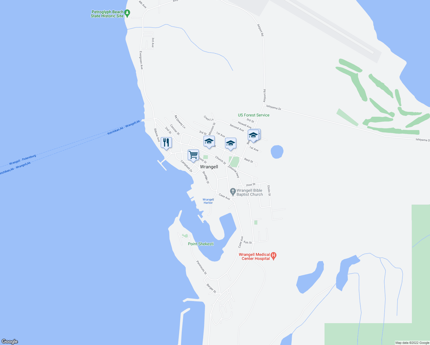 map of restaurants, bars, coffee shops, grocery stores, and more near 200-398 Front Street in Wrangell