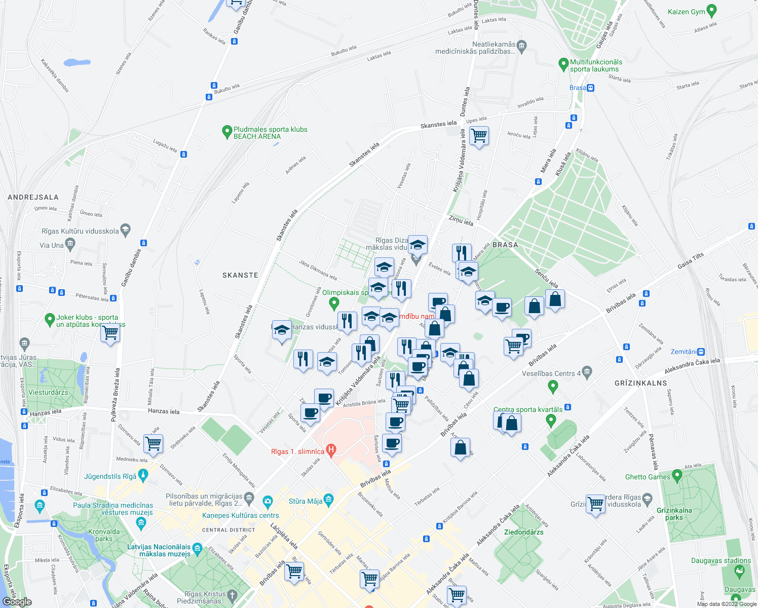 map of restaurants, bars, coffee shops, grocery stores, and more near 35 Tomsona iela in Riga