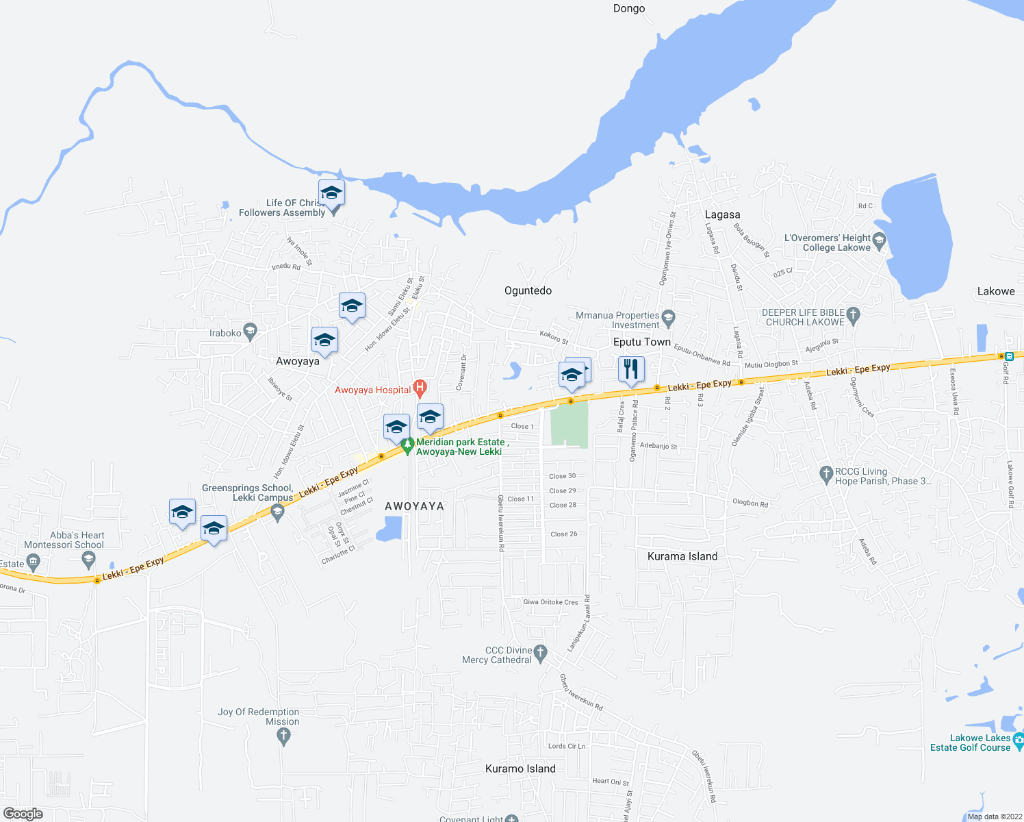 map of restaurants, bars, coffee shops, grocery stores, and more near Lekki - Epe Expressway in Lekki