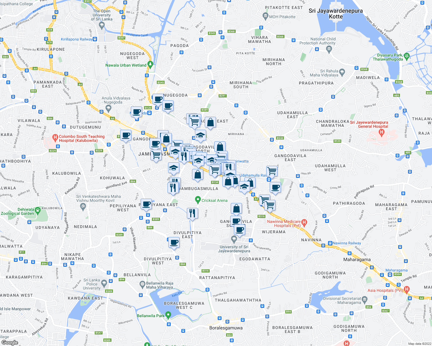 map of restaurants, bars, coffee shops, grocery stores, and more near Colombo-Ratnapura-Wellawaya-Batticaloa Highway in Nugegoda