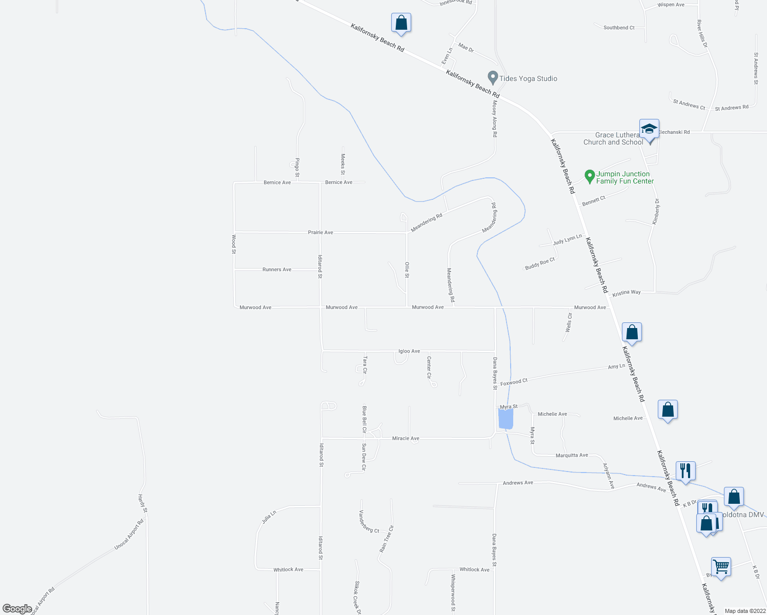 map of restaurants, bars, coffee shops, grocery stores, and more near 48335 Murwood Avenue in Soldotna