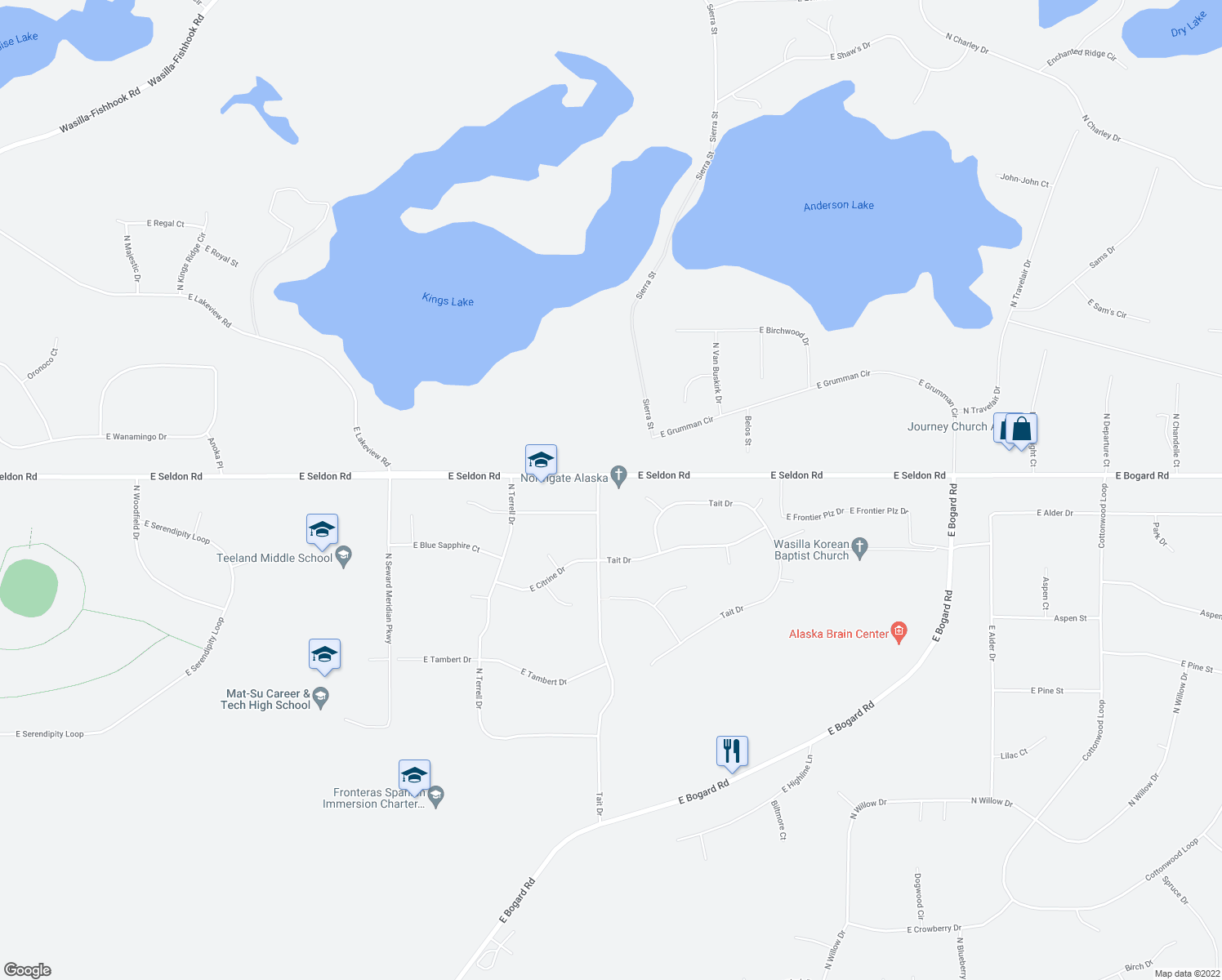 map of restaurants, bars, coffee shops, grocery stores, and more near 4161 East Seldon Road in Wasilla