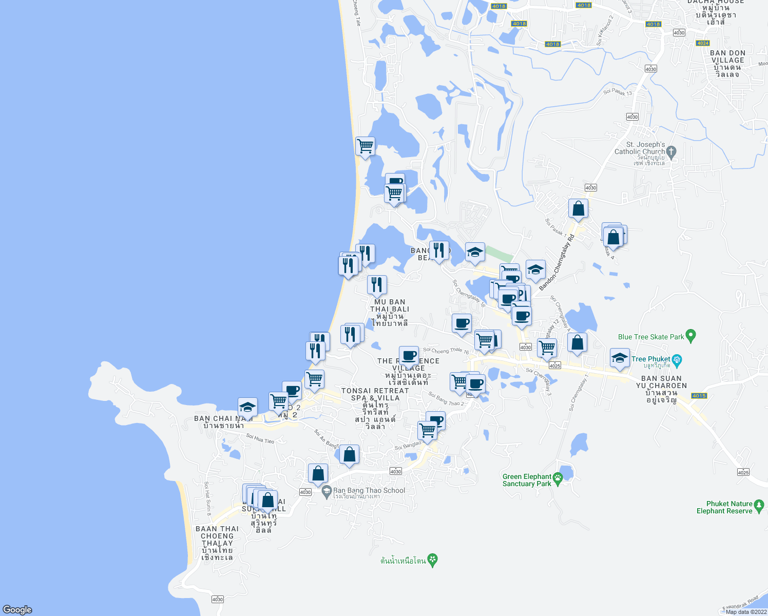 map of restaurants, bars, coffee shops, grocery stores, and more near in Choeng Thale