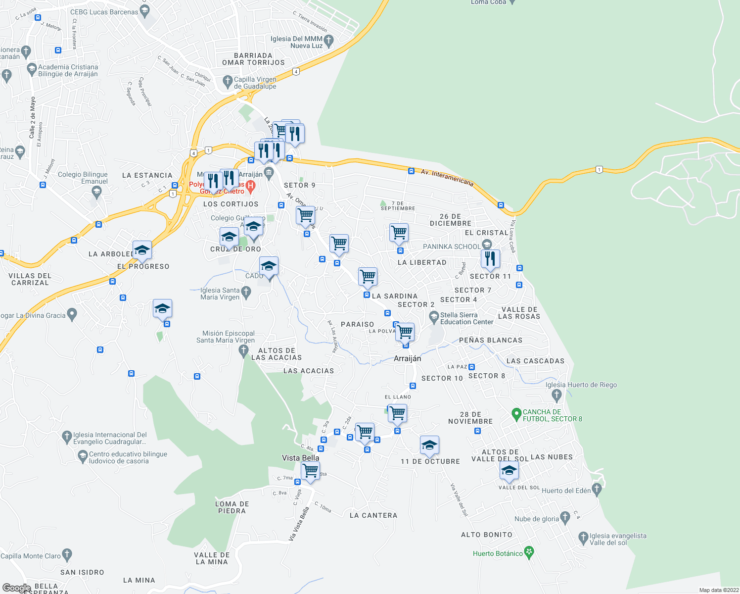 map of restaurants, bars, coffee shops, grocery stores, and more near Calle 11 de Octubre in Arraiján