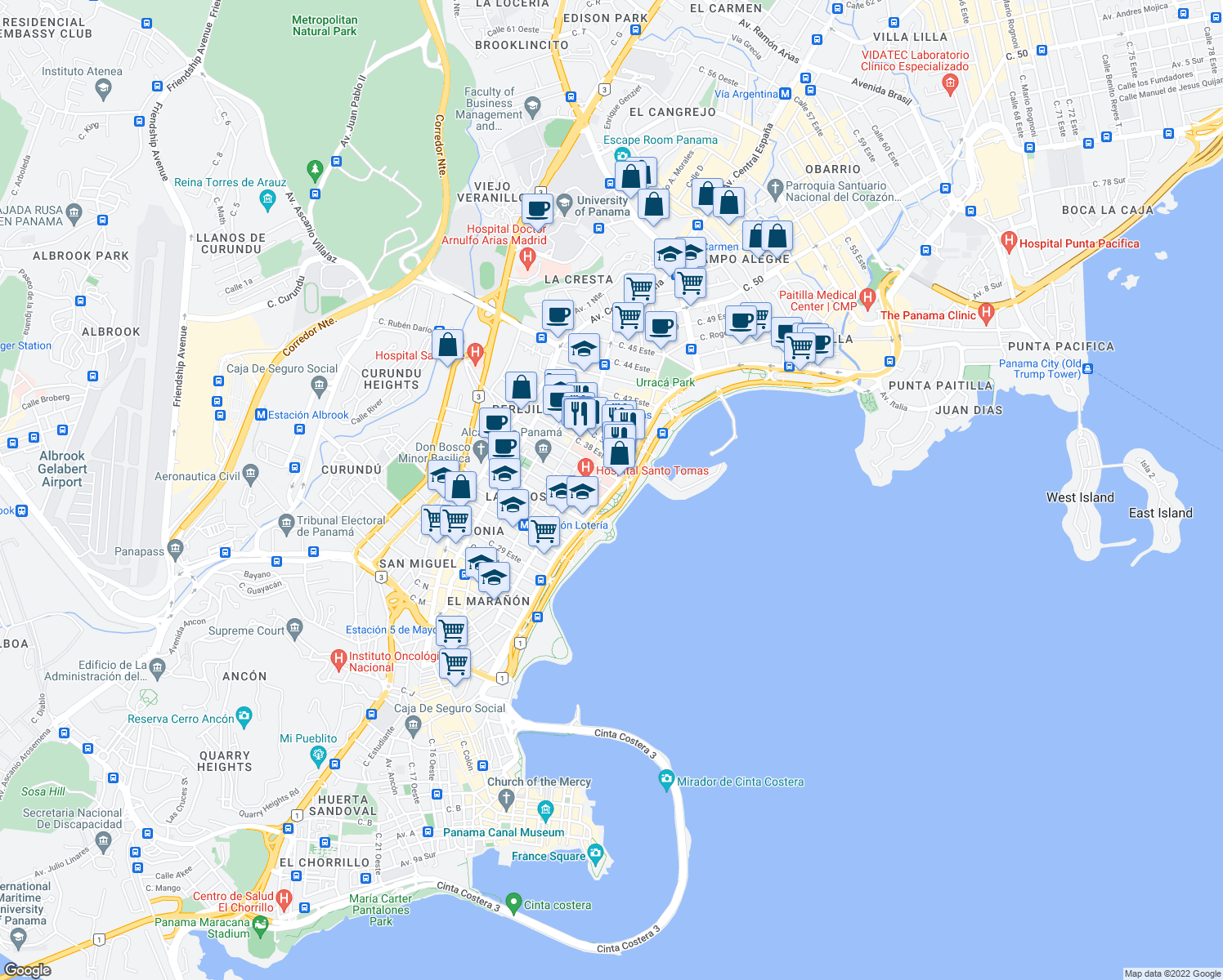 map of restaurants, bars, coffee shops, grocery stores, and more near Avenida Balboa in Panama