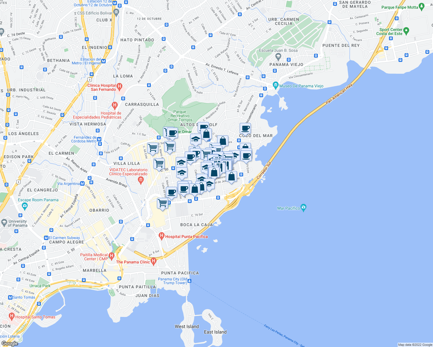 map of restaurants, bars, coffee shops, grocery stores, and more near 5 Avenida 5 Sur in Panamá