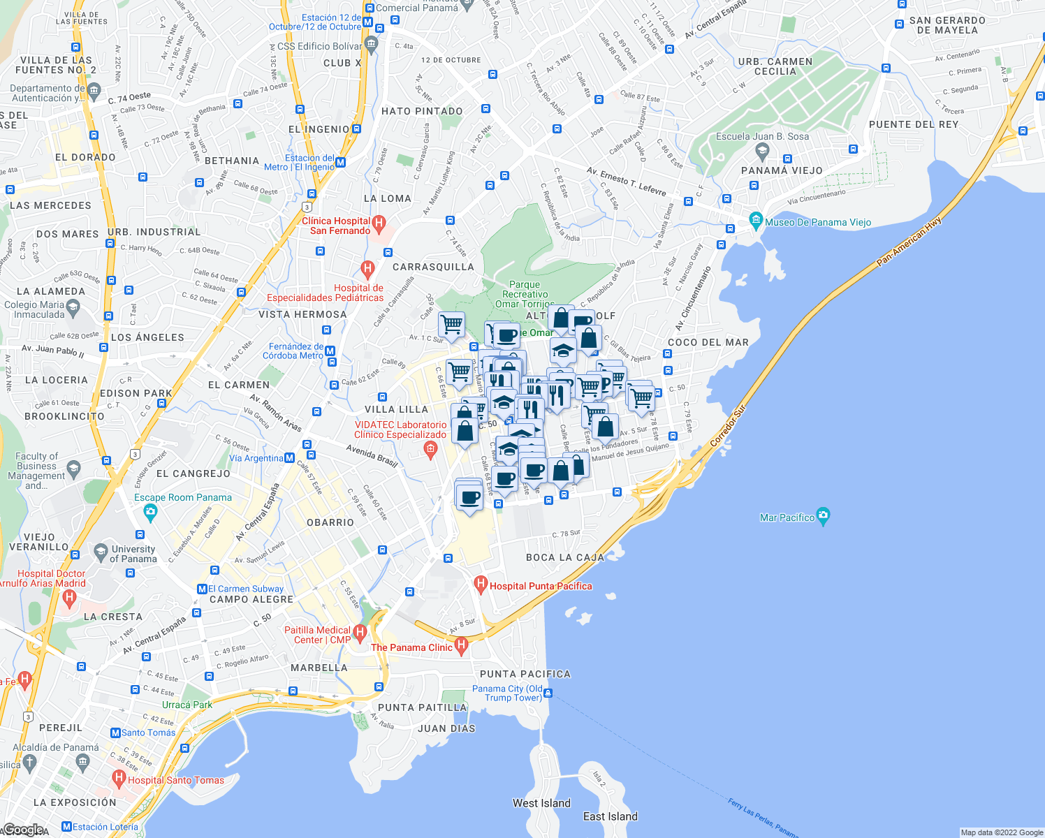 map of restaurants, bars, coffee shops, grocery stores, and more near Avenida los Fundadores in Panamá