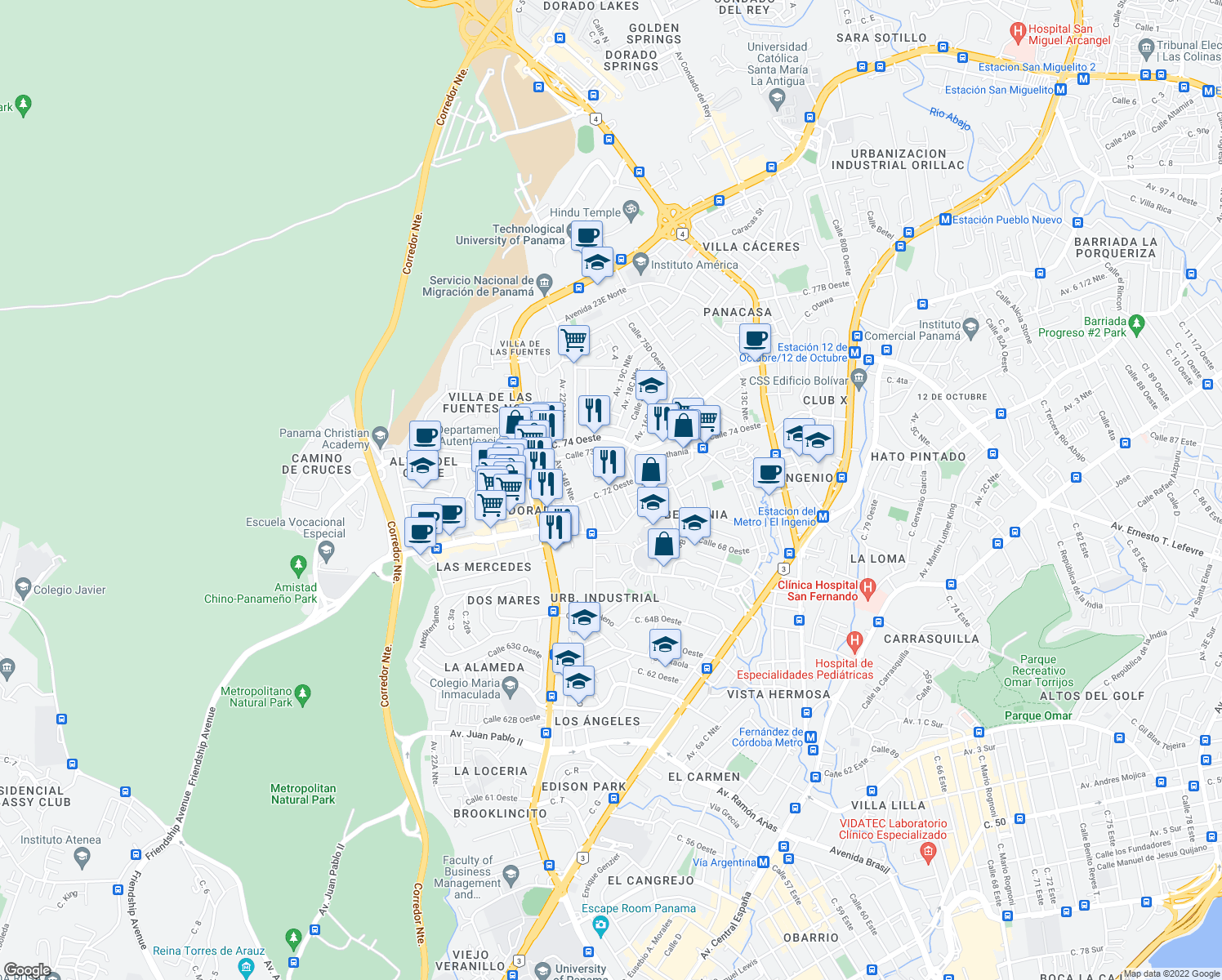 map of restaurants, bars, coffee shops, grocery stores, and more near Calle 71 San Francisco in Panamá