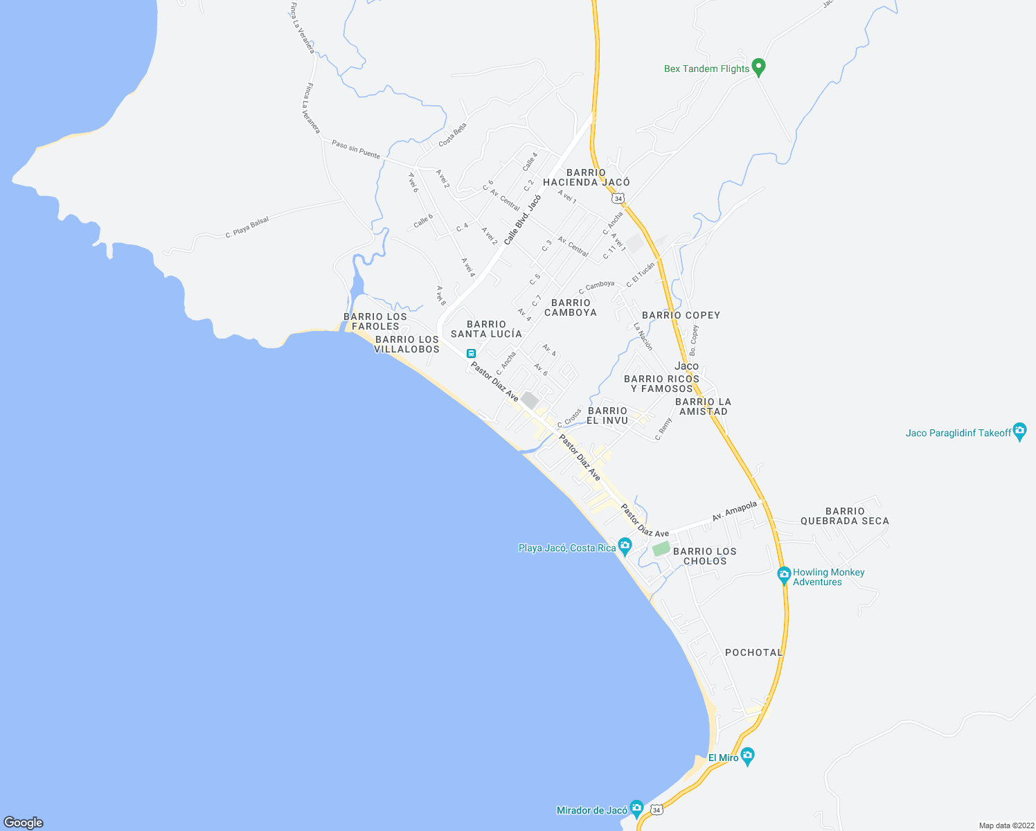 map of restaurants, bars, coffee shops, grocery stores, and more near in Jaco