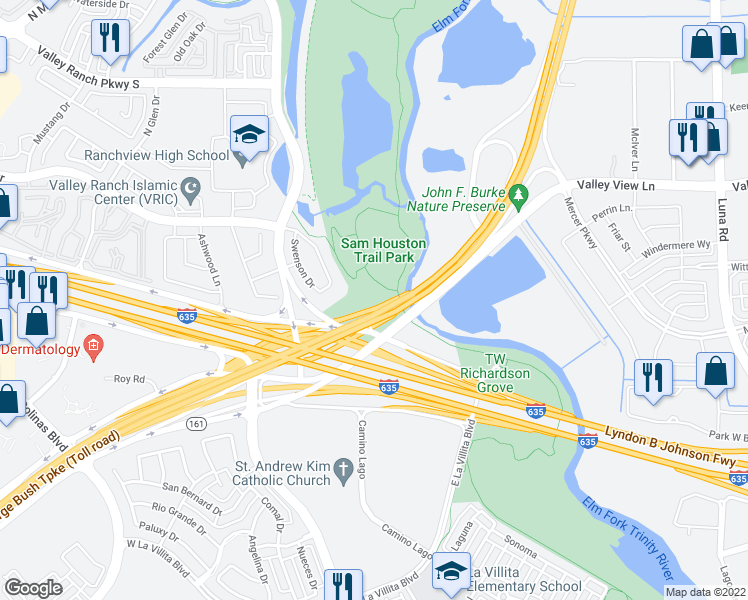 Sam Houston Trail Park Entrance Road Irving TX Walk Score