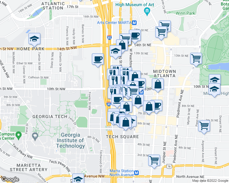 100 Midtown Apartments Atlanta GA Walk Score