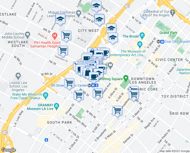 Wilshire Boulevard South Flower Street Los Angeles CA Walk Score