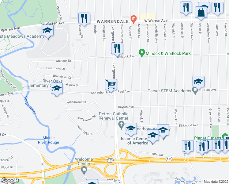 Ann Arbor Trail Evergreen Rd Detroit MI Walk Score
