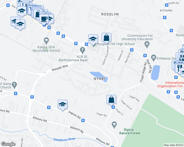 map of restaurants, bars, coffee shops, grocery stores, and more near Red Hill Drive in Nairobi