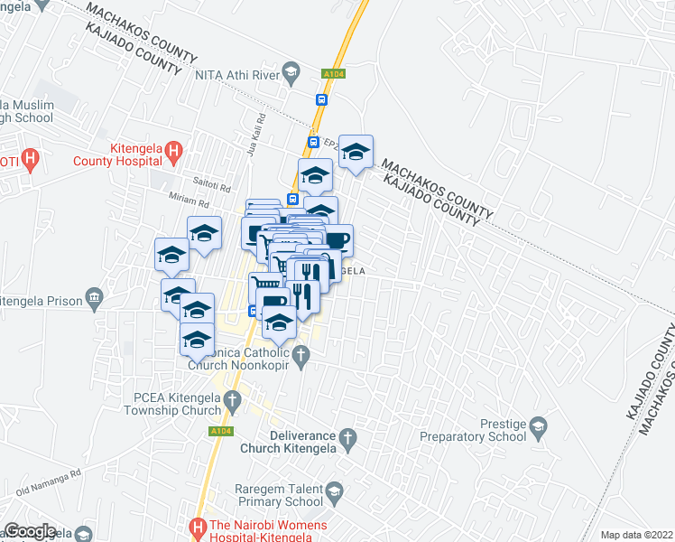map of restaurants, bars, coffee shops, grocery stores, and more near in Athi River