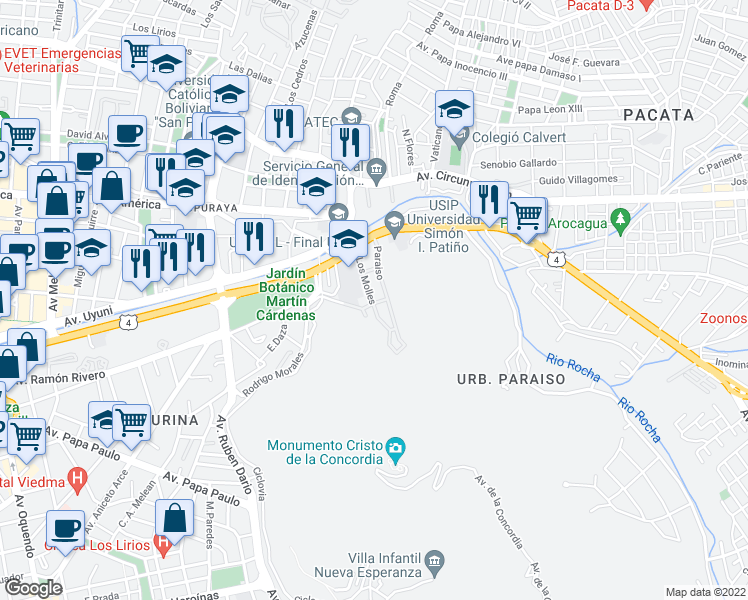 map of restaurants, bars, coffee shops, grocery stores, and more near Los Molles in Cochabamba