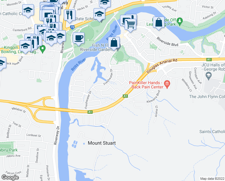 map of restaurants, bars, coffee shops, grocery stores, and more near 11 Warbler Crescent in Douglas