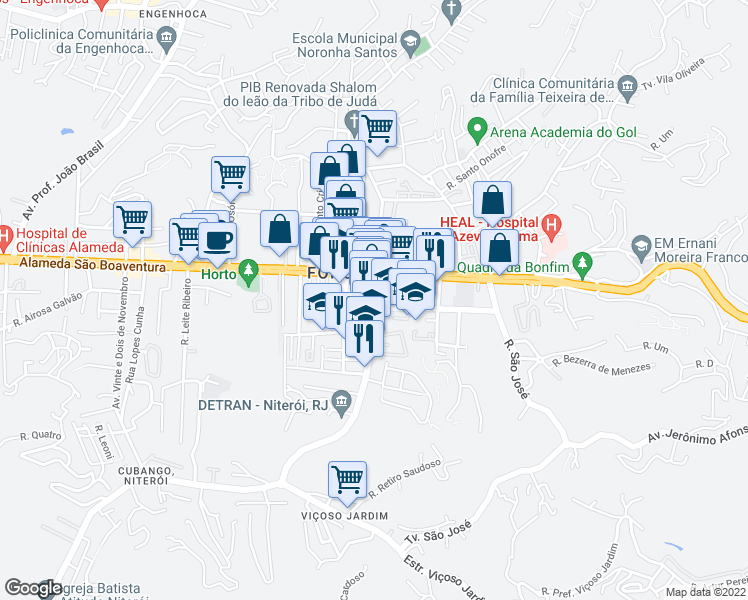 map of restaurants, bars, coffee shops, grocery stores, and more near 36 Rua Desembargador Lima Castro in Niteroi