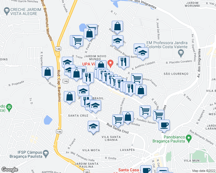 map of restaurants, bars, coffee shops, grocery stores, and more near 968 Rua João Franco in Bragança Paulista