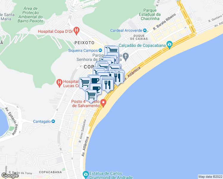 map of restaurants, bars, coffee shops, grocery stores, and more near 22 Avenida Atlântica in Rio de Janeiro