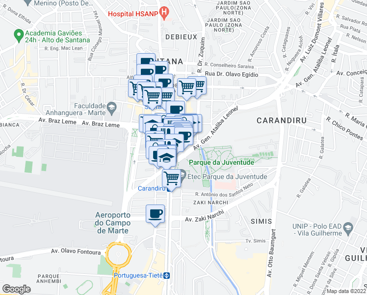 map of restaurants, bars, coffee shops, grocery stores, and more near 55 Rua Ezequiel Freire in São Paulo