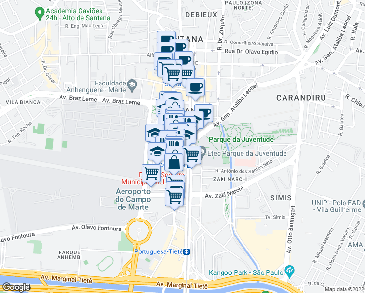 map of restaurants, bars, coffee shops, grocery stores, and more near 93 Avenida General Ataliba Leonel in São Paulo