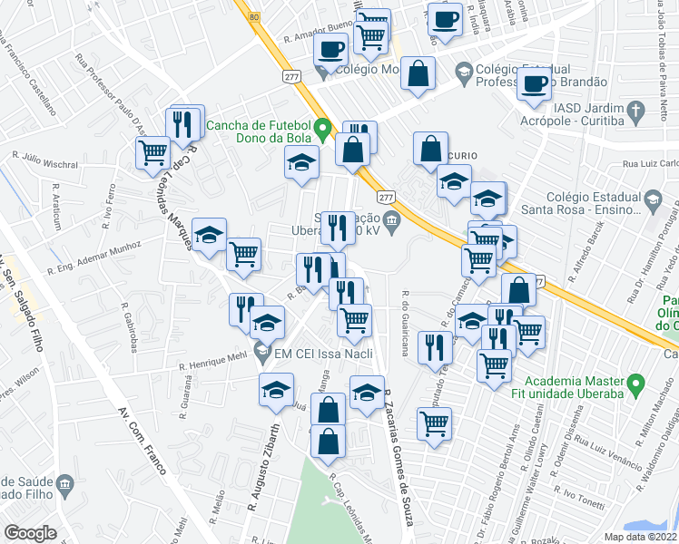 map of restaurants, bars, coffee shops, grocery stores, and more near 504 Rua Doutor Gabriel Ferreira Filho in Curitiba
