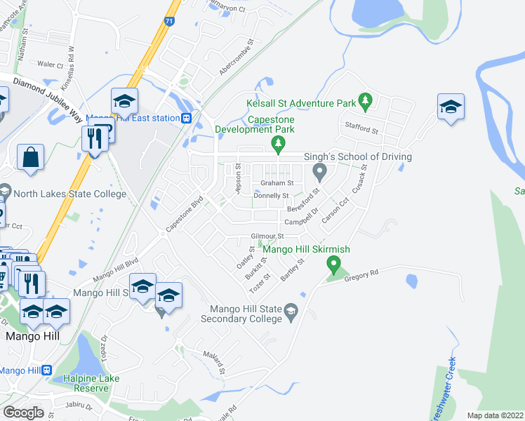 map of restaurants, bars, coffee shops, grocery stores, and more near 28 Beresford Street in Mango Hill