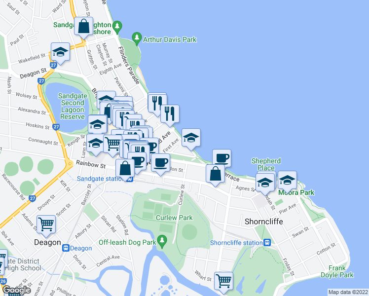 map of restaurants, bars, coffee shops, grocery stores, and more near 16 Flinders Parade in Sandgate