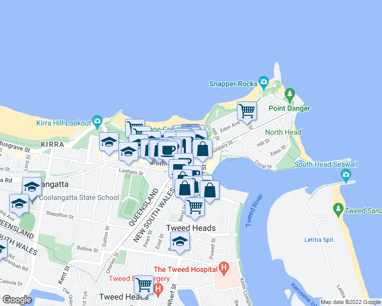map of restaurants, bars, coffee shops, grocery stores, and more near 120 Marine Parade in Coolangatta