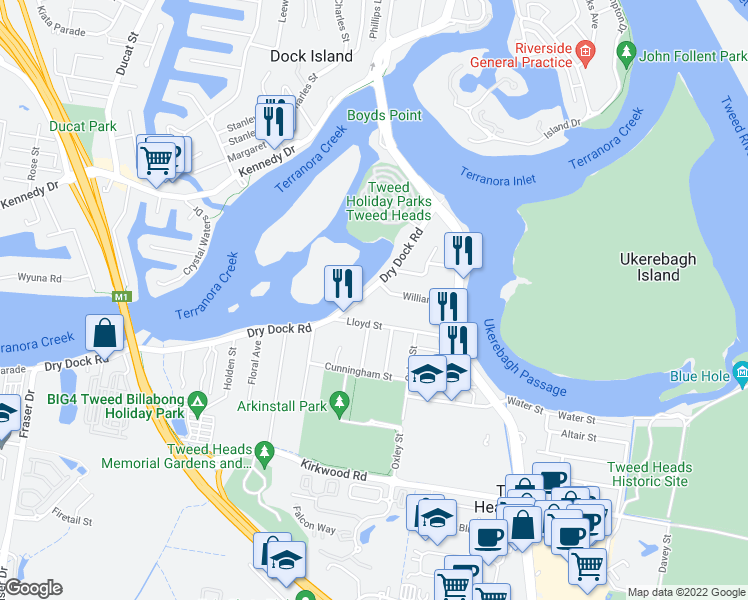 map of restaurants, bars, coffee shops, grocery stores, and more near 42 Dry Dock Road in Tweed Heads South