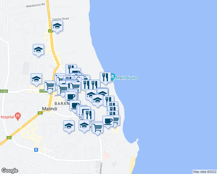 map of restaurants, bars, coffee shops, grocery stores, and more near in Malindi