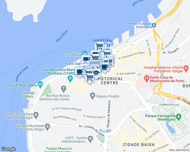 map of restaurants, bars, coffee shops, grocery stores, and more near 1170 Rua dos Andradas in Porto Alegre