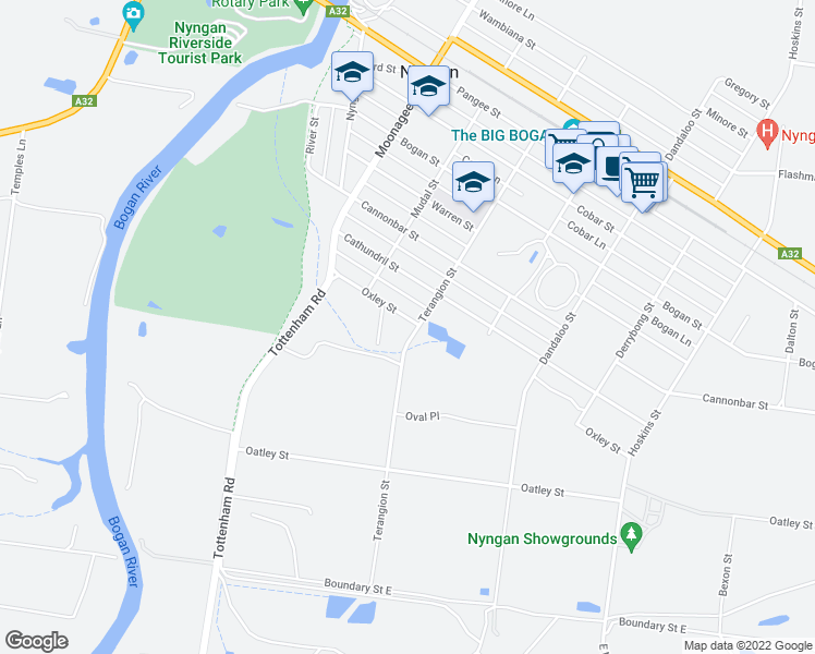 map of restaurants, bars, coffee shops, grocery stores, and more near 25 Oxley Street in Nyngan
