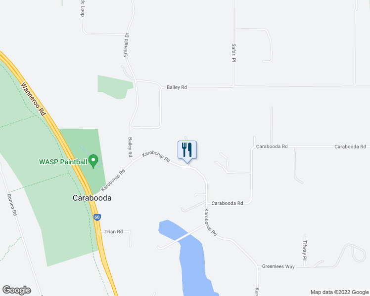 map of restaurants, bars, coffee shops, grocery stores, and more near 336 Karoborup Rd in Carabooda