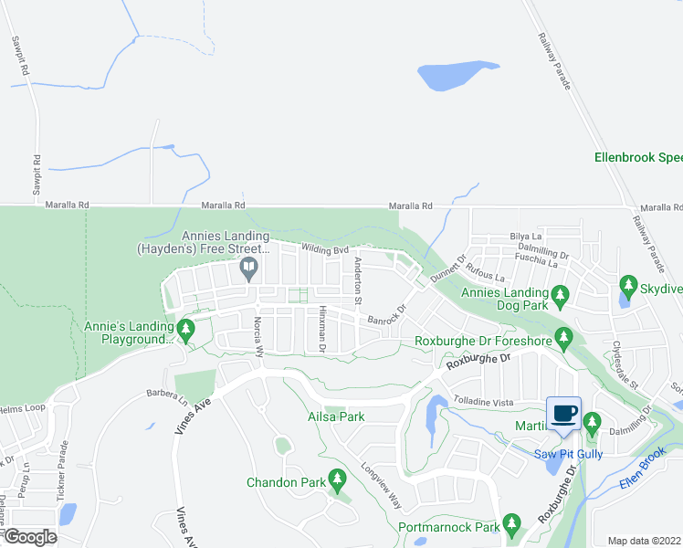 map of restaurants, bars, coffee shops, grocery stores, and more near Ridsdale Road in Ellenbrook