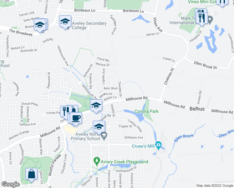 map of restaurants, bars, coffee shops, grocery stores, and more near 9 Minikin Drive in Aveley