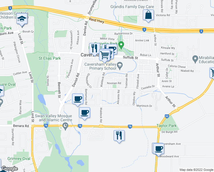 map of restaurants, bars, coffee shops, grocery stores, and more near Priory Lane in Caversham