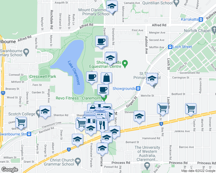 map of restaurants, bars, coffee shops, grocery stores, and more near 16 Kyle Way in Claremont