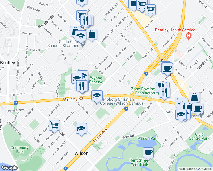 map of restaurants, bars, coffee shops, grocery stores, and more near 28-30 Wyong Road in Bentley