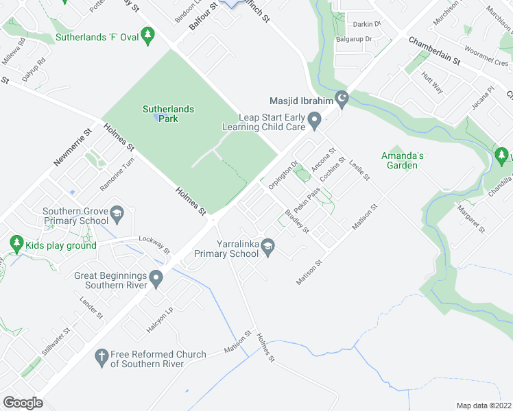 map of restaurants, bars, coffee shops, grocery stores, and more near 40 Orpington Drive in Southern River