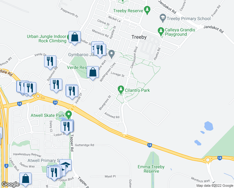 map of restaurants, bars, coffee shops, grocery stores, and more near 43 Wattleseed Avenue in Banjup