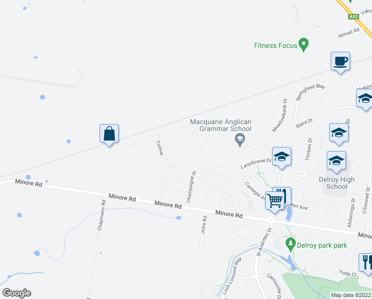map of restaurants, bars, coffee shops, grocery stores, and more near Hovea Court in Dubbo
