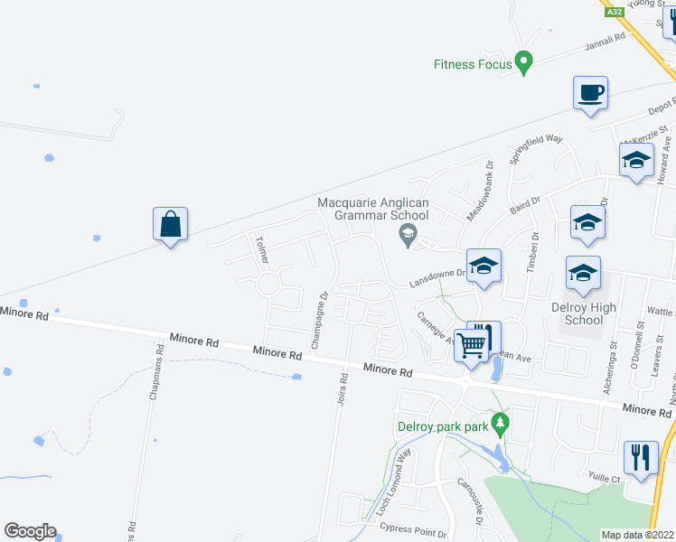 map of restaurants, bars, coffee shops, grocery stores, and more near 59 Champagne Drive in Dubbo