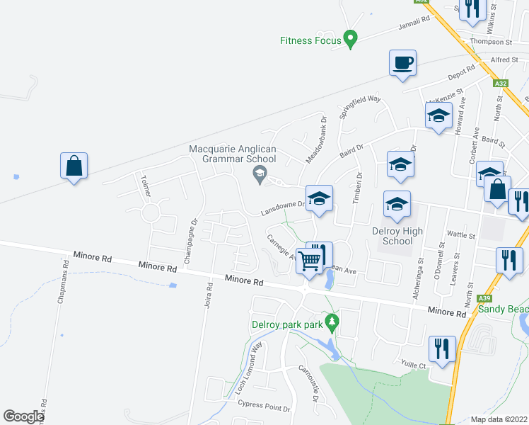 map of restaurants, bars, coffee shops, grocery stores, and more near 19 Lansdowne Drive in Dubbo