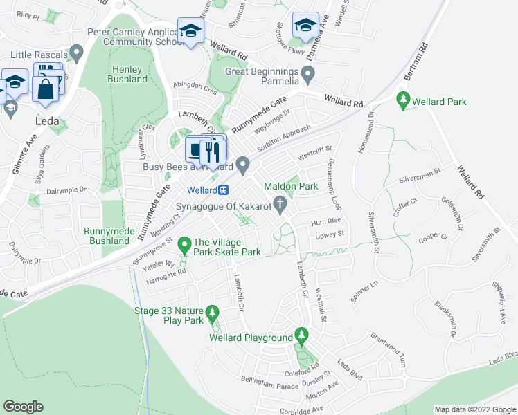 map of restaurants, bars, coffee shops, grocery stores, and more near Welton Road in Wellard