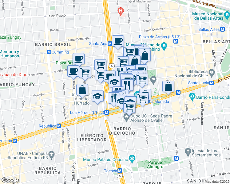 map of restaurants, bars, coffee shops, grocery stores, and more near 1623 Nicanor de La Sotta in Santiago