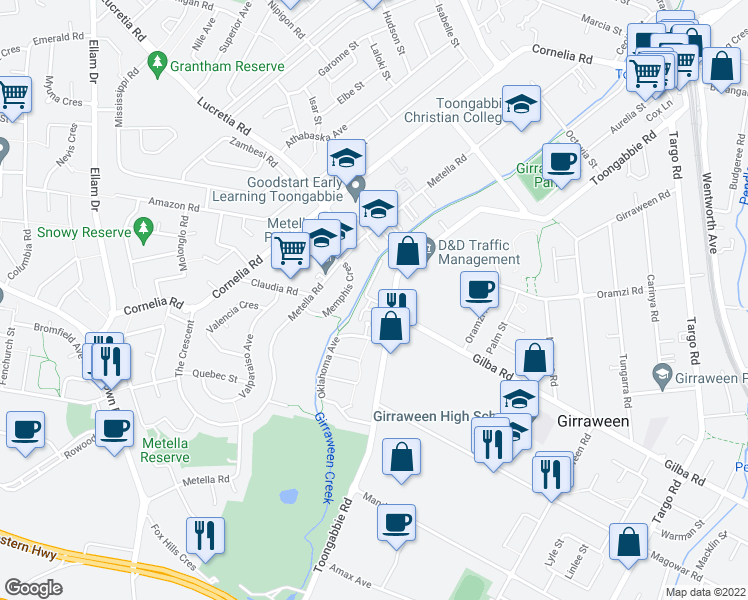 map of restaurants, bars, coffee shops, grocery stores, and more near 153-163 Toongabbie Road in Toongabbie