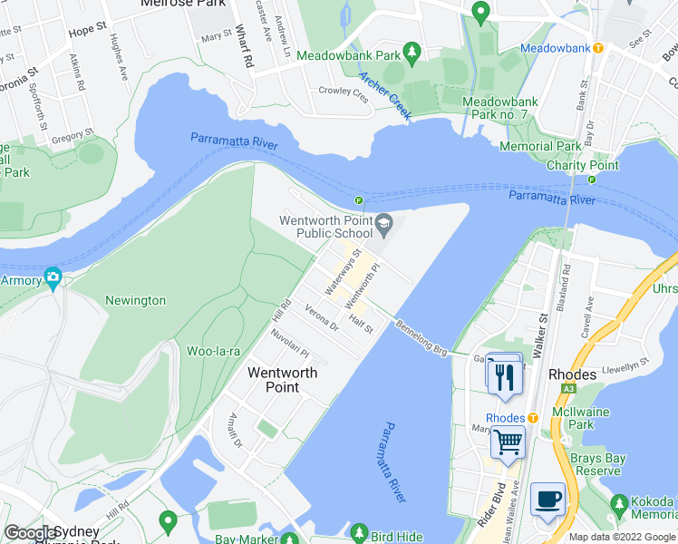 map of restaurants, bars, coffee shops, grocery stores, and more near 5 Waterways Street in Wentworth Point