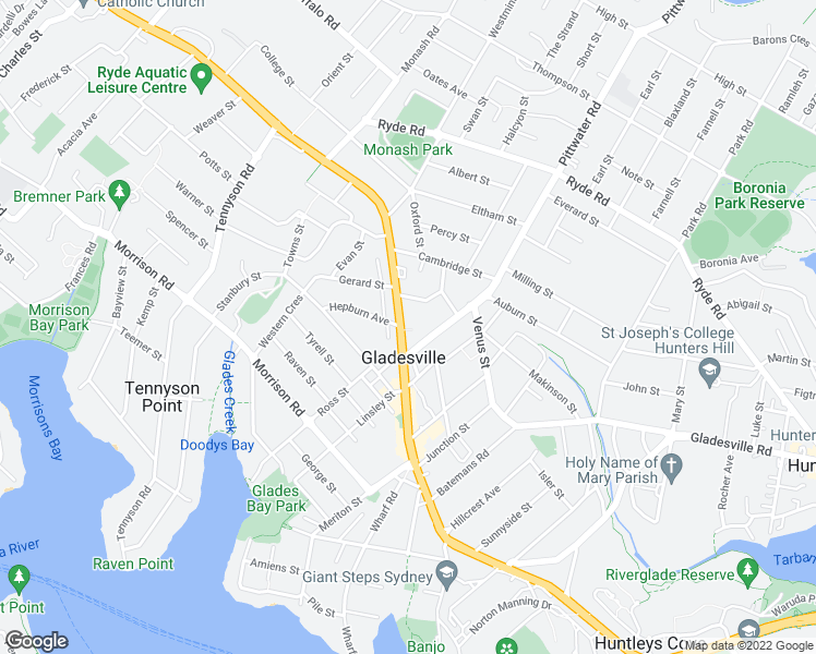 map of restaurants, bars, coffee shops, grocery stores, and more near 267A Victoria Rd in Gladesville